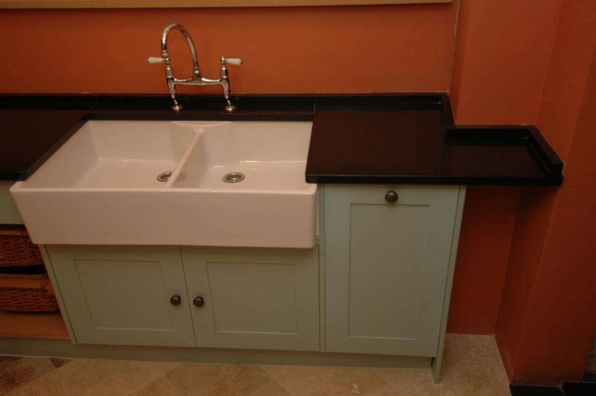 Black Granite Double Butler Sink Kitchen Worktop Upstand London