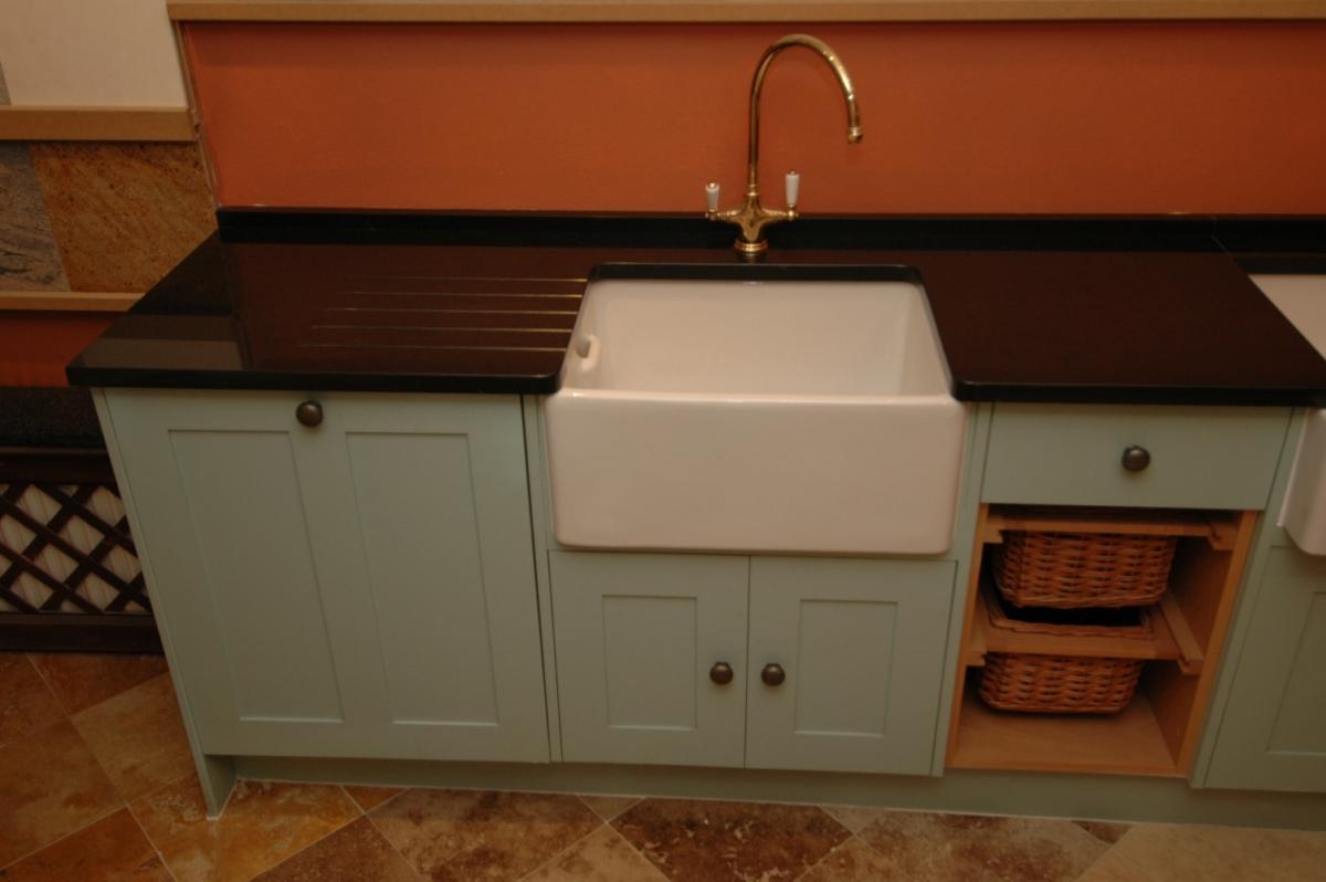 Black Granite Single Butler Sink Kitchen Worktop Upstand London