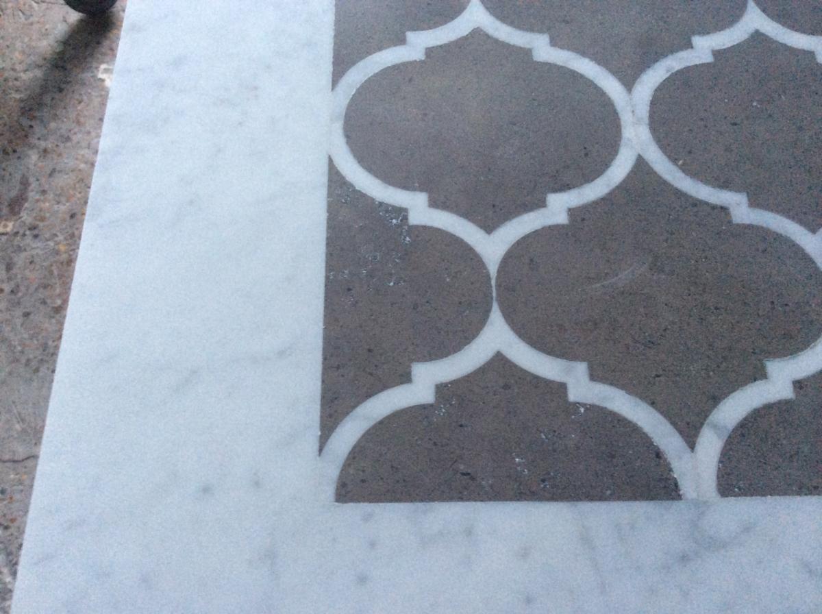 Brazilian Limestone With Calacatta Marble Border Leather Textured Finish Complete London Closeup