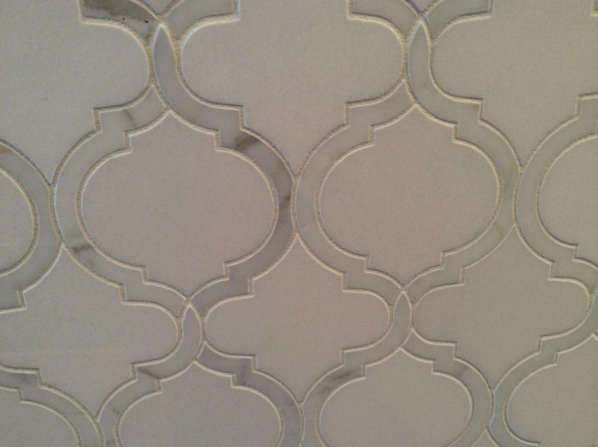 Brazilian Limestone With Calacatta Marble Border Original Design To Be Copied