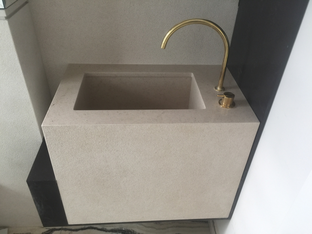 Bush Hammered Limestone With Honed Top Matching Bathroom Sink