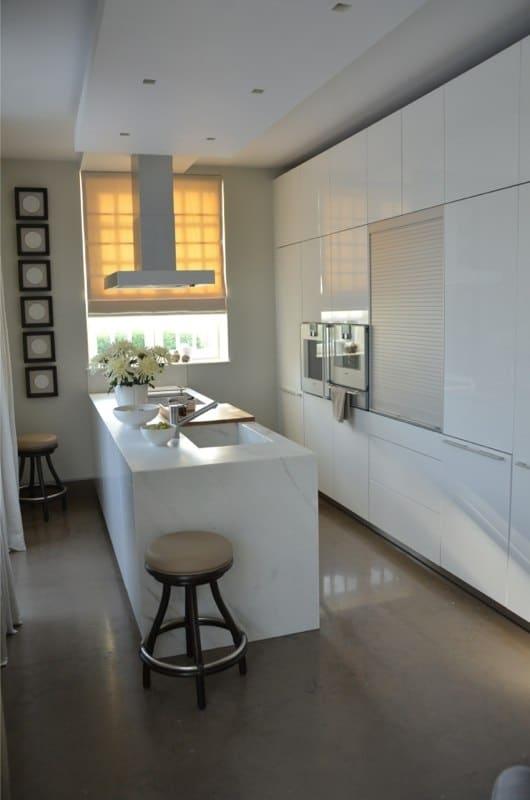Calacatta Crema Cream Marble Kitchen Island With Sink In Same Material