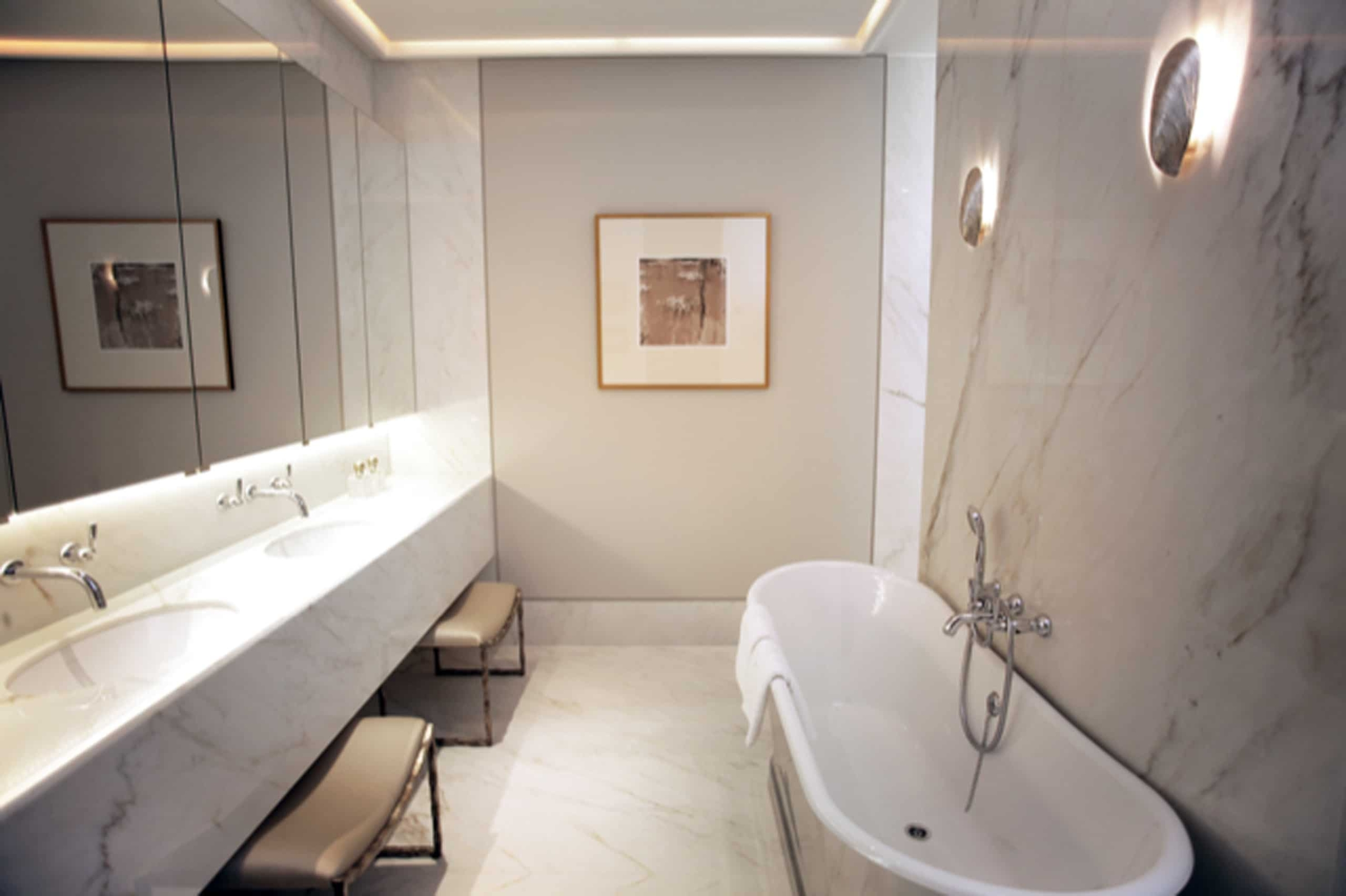 Calacatta Crema Marble Cream Bathroom Wall Cladding Vanity Top Undermounted Sink London