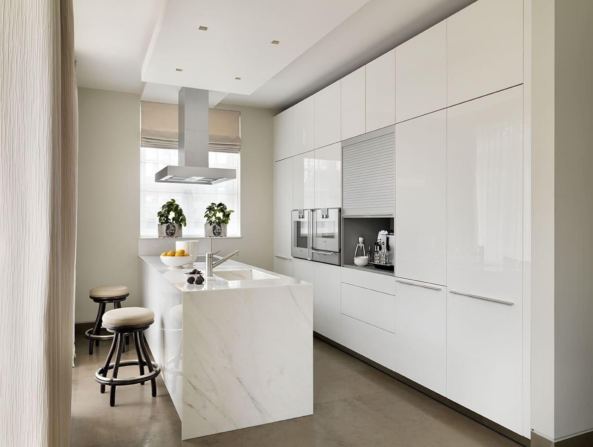 Calacatta Crema Marble Kitchen Worktop With Waterfall Matching Sink London 1