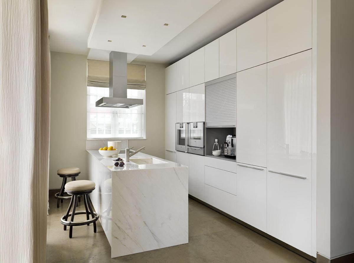 Calacatta Crema Marble Kitchen Worktop With Waterfall Matching Sink London 1a
