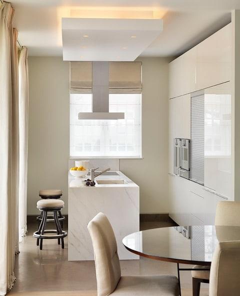 Calacatta Crema Marble Kitchen Worktop With Waterfall Matching Sink London 2
