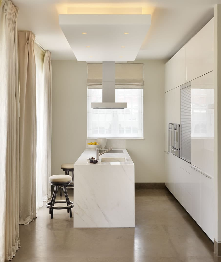 Calacatta Crema Marble Kitchen Worktop With Waterfall Matching Sink London 3