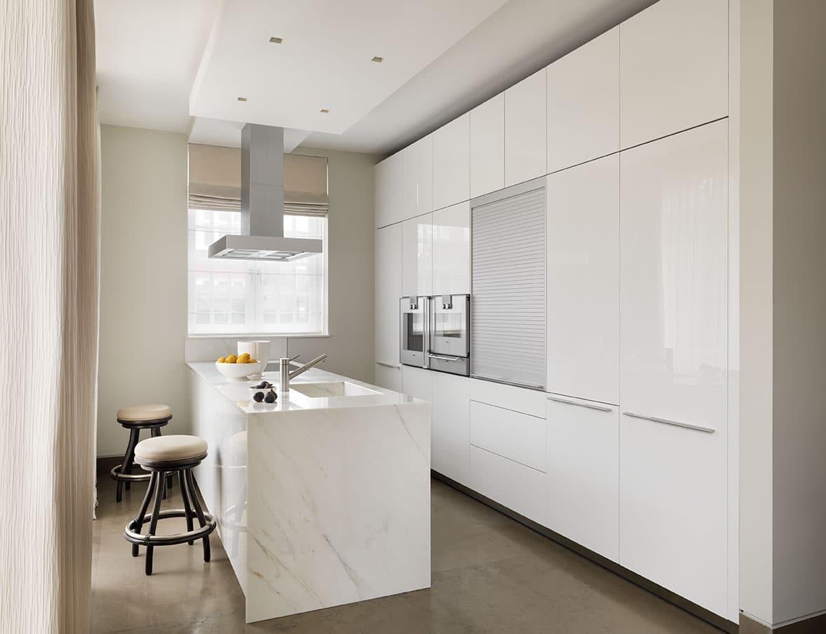 Calacatta Crema Marble Kitchen Worktop With Waterfall Matching Sink London