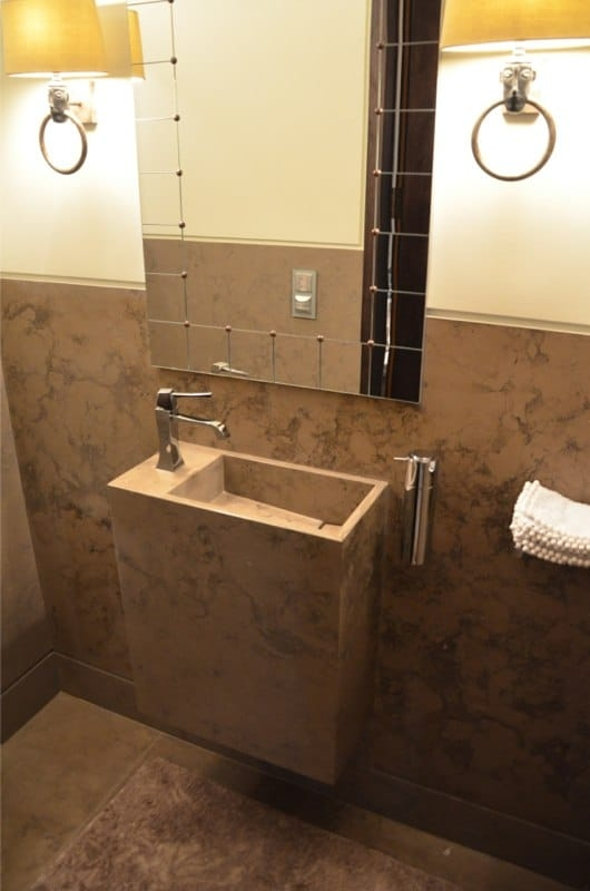 Corcovado Brazillian Limestone Cloakroom With Custom Made Sink