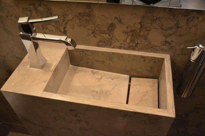 Corcovado Brazillian Limestone Cloakroom With Custom Made Sink Wall Floor 2