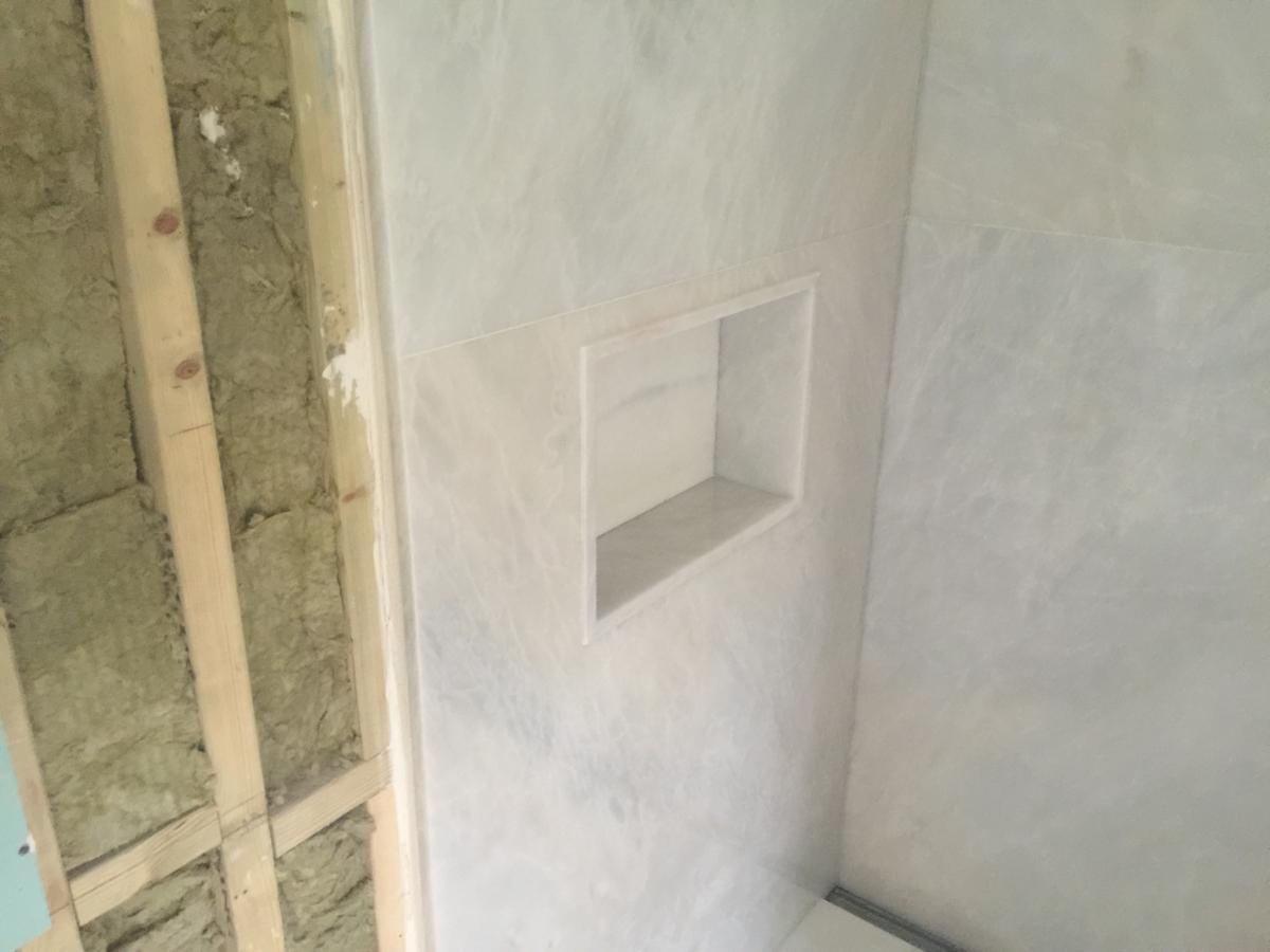 Crema Evora Marble Bathroom Wall Inset Shelf Niche London