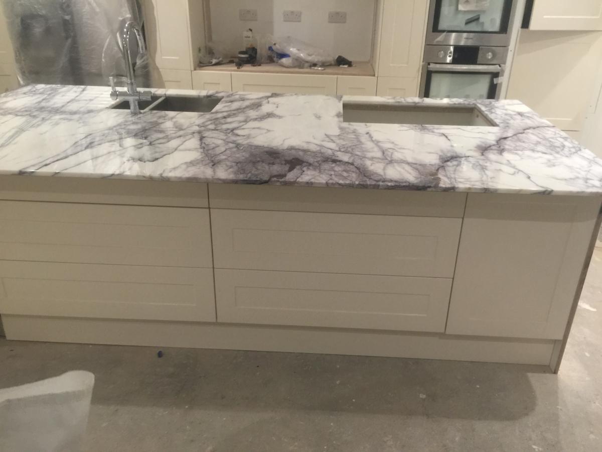 Lilac Marble Kitchen Island Undermount Sinks London