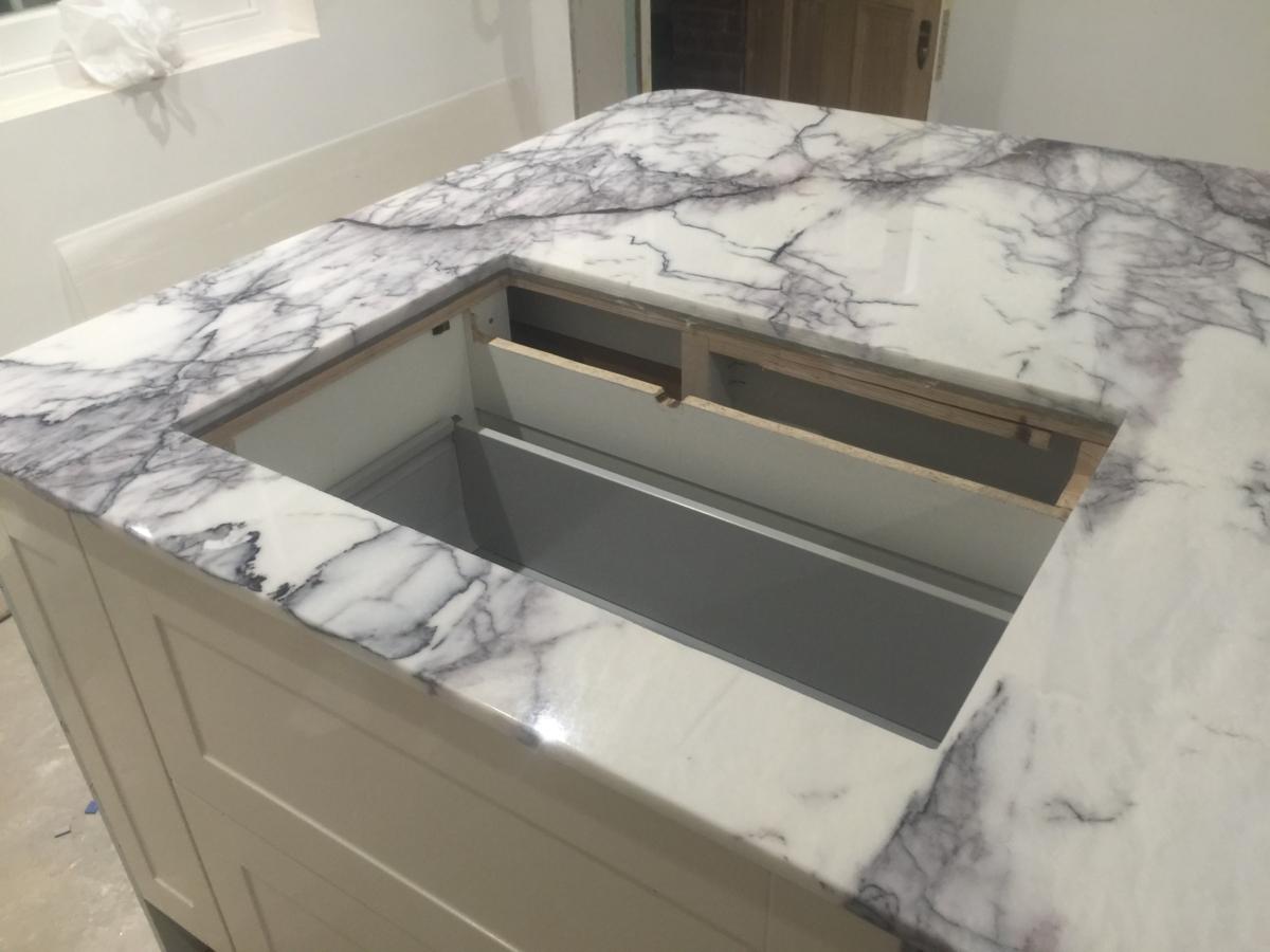 Lilac Marble Kitchen Island Undermount Sinks London 2