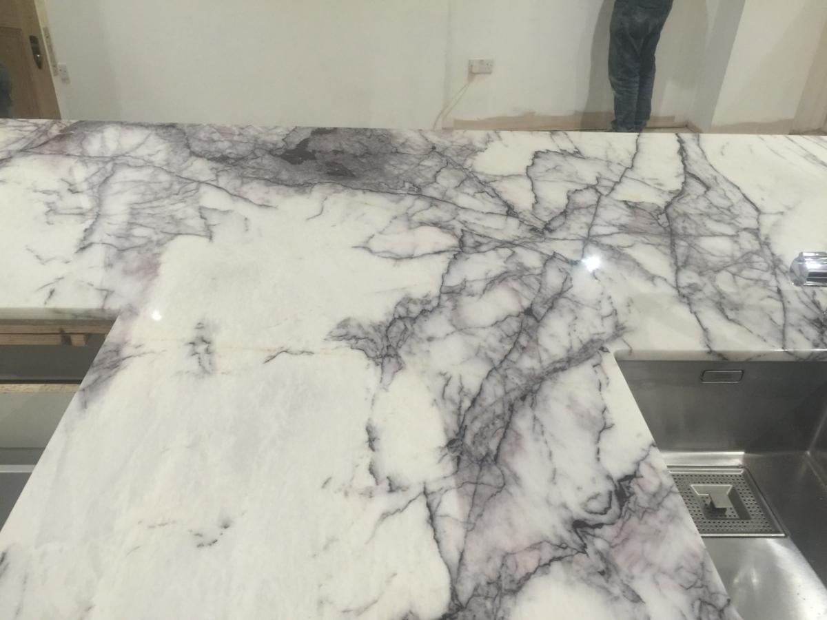 Lilac Marble Kitchen Island Undermount Sinks London 3