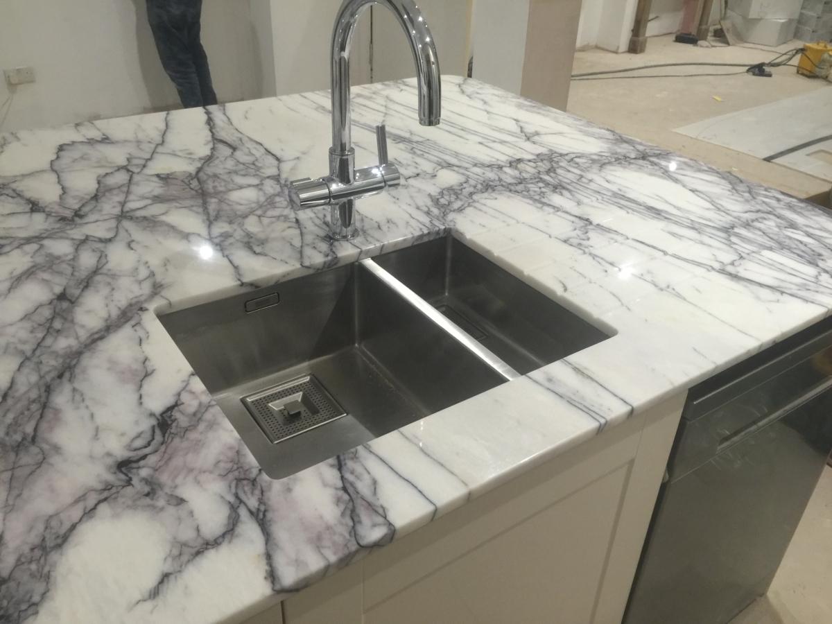 Lilac Marble Kitchen Island Undermount Sinks London 4