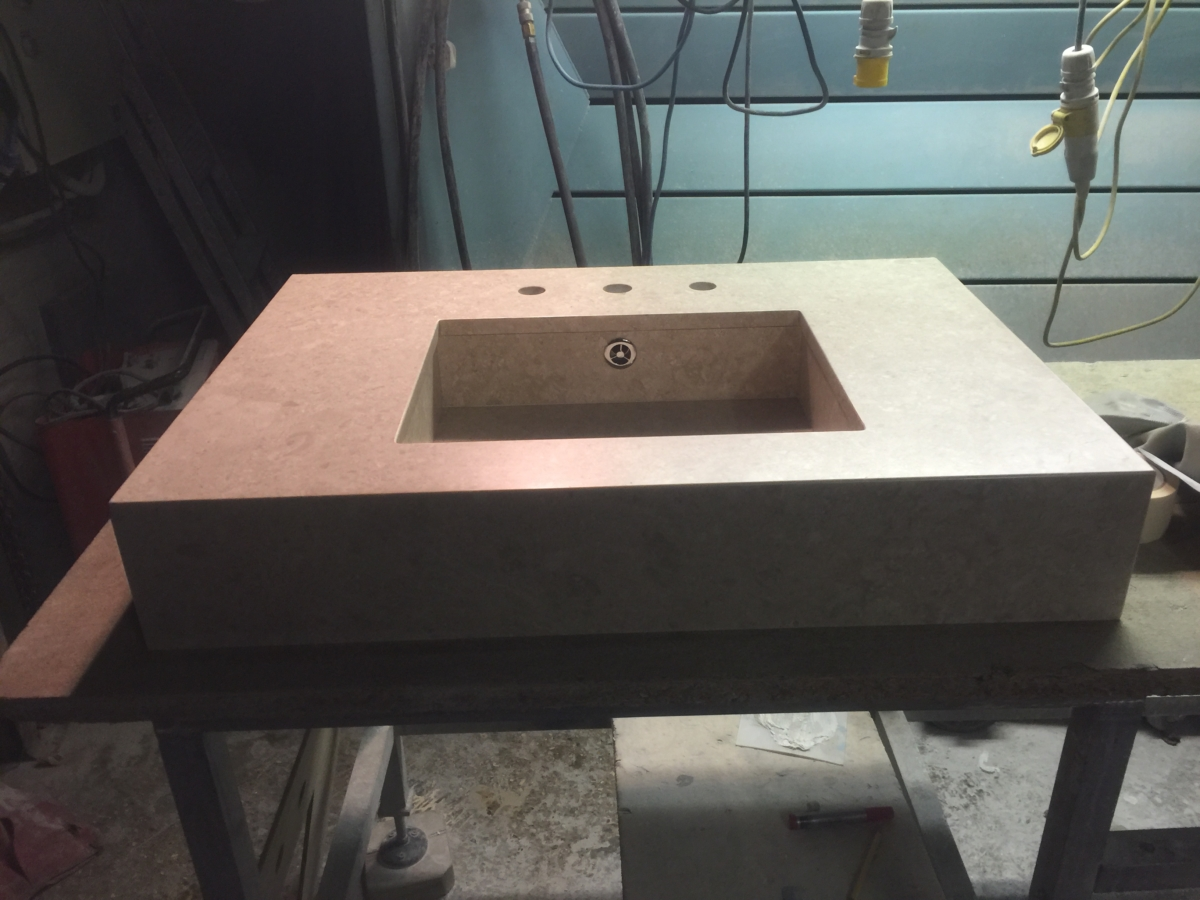 Limestone Vanity Top With Matching Inset Sink London 2