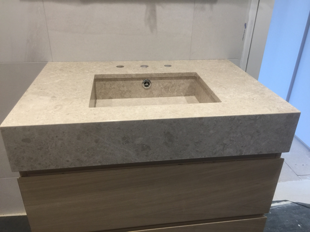 Limestone Vanity Top With Matching Inset Sink London 3