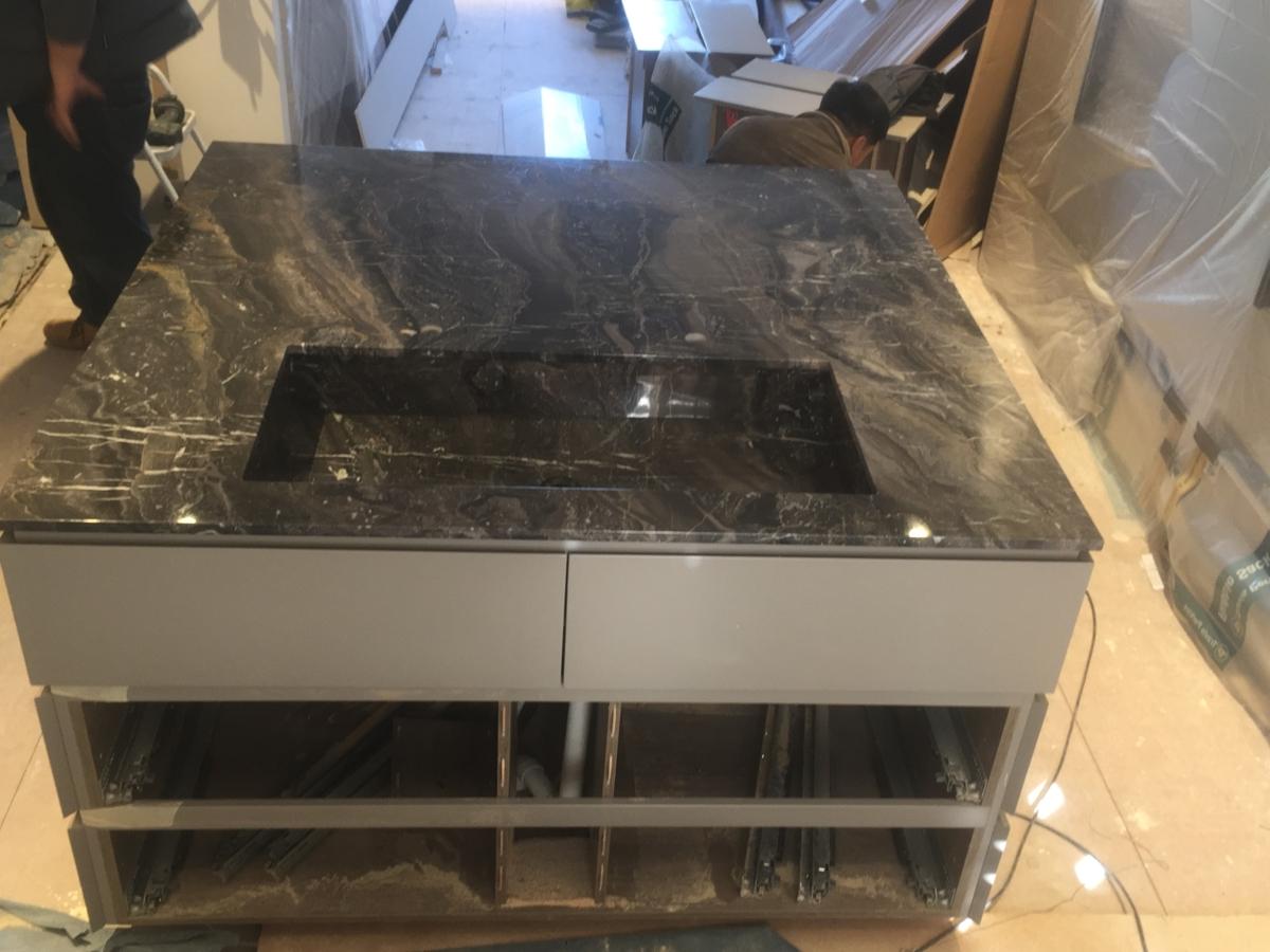Marble Black Bathroom Vanity Top With Inset Sink London