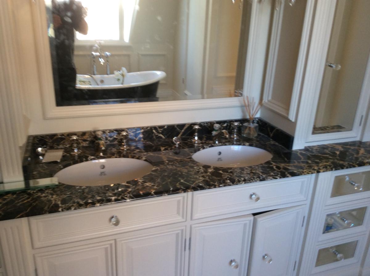 Portoro Marble London Bathroom Vanity Top Splashback Brown Black Gold