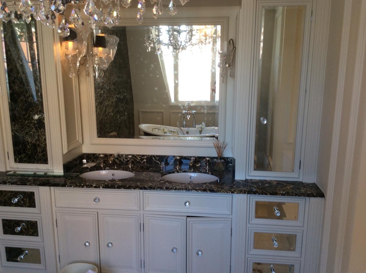Portoro Marble London Bathroom Vanity Top Splashback Brown Black Gold 2