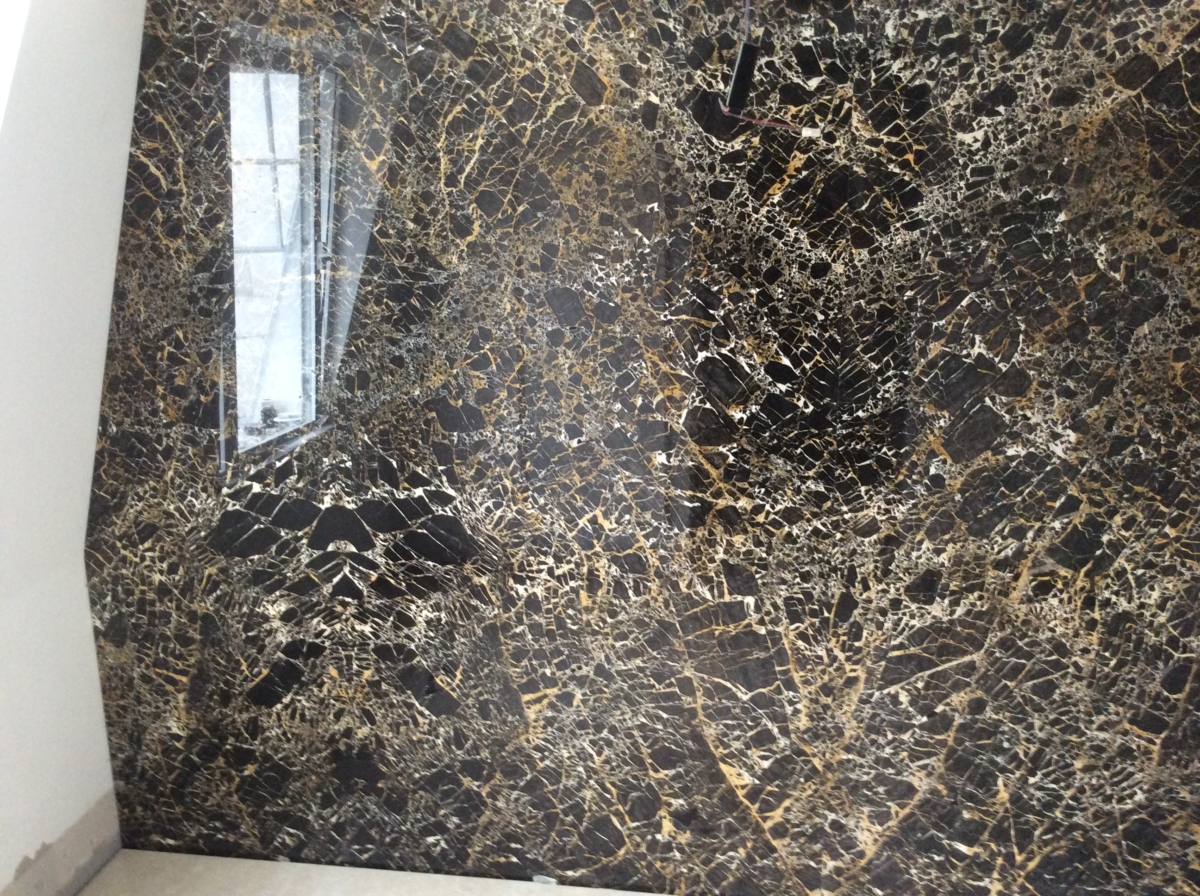 Portoro Marble London Double Bookmatched Wall Slabbing Brown Black Gold