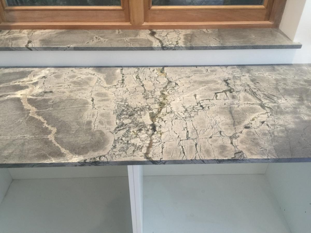 South American Granite Worktop Pattern Matching Windowsill Gray Green London