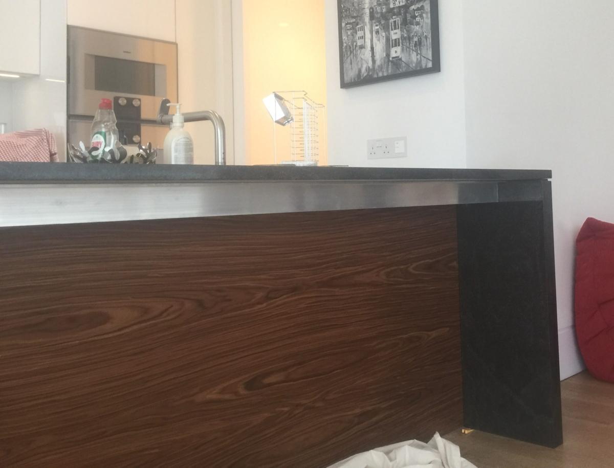 Stardust Granite Kitchen Island Extention Worktop With Support Shadow Gap London 3