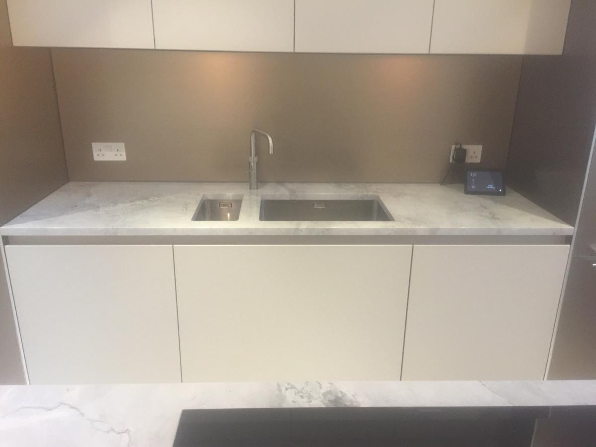 Superwhite Moon Rock Quartzite Kitchen Worktop Undermount Sink London